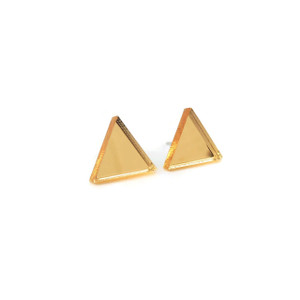 Acrylic Gold Triangle Earrings
