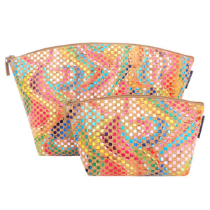 Extra Large Standing Pouch in Mosaic Cork with Small Standing Pouch