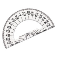 "Open Center Protractor, Plastic, 4"" Base, Clear"