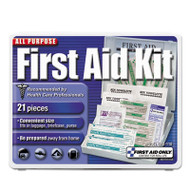 All-Purpose First Aid Kit, 21 Pieces, 4 3/4 x 3 x 1/2, Blue/White