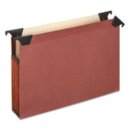 "3 1/2"" Hanging File Pockets with Swing Hooks, 1/3 Tab, Letter, Brown, 5/Box"