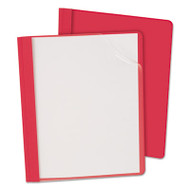 "Clear Front Report Cover, 3 Fasteners, Letter, 1/2"" Capacity, Red, 25/Box"
