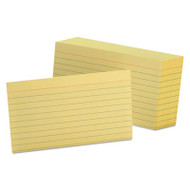 Ruled Index Cards, 3 x 5, Canary, 100/Pack