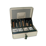 3-in-1 Cash-Change-Storage Steel Security Box w/Key Lock, Pebble Beige