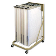Steel Sheet File Mobile Rack, 12 Hanging Clamps, 27w x 37 1/2d x 61 1/2h, Sand