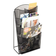Onyx Mesh Counter Display, Four Compartments, 9-3/4w x 6-1/2d x 18h, Black