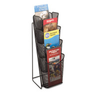 Onyx Mesh Counter Display, Four Compartments, 5-1/4w x 7d x 16-1/2h, Black