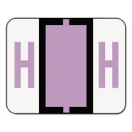 A-Z Color-Coded Bar-Style End Tab Labels, Letter H, Lavender, 500/Roll