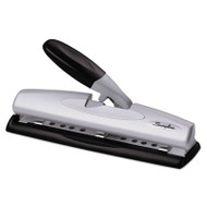 "12-Sheet LightTouch Desktop Two-to-Three-Hole Punch, 9/32"" Holes, Black/Silver"