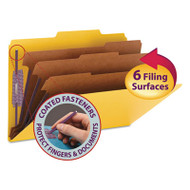 """3"""" Expansion Classification Folders, 2/5 Cut, Legal, 8-Section, Yellow, 10/Box"""