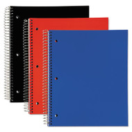 3 Subject, Poly Notebook, 11 x 8, College/Medium, Assorted, 120 Sheets