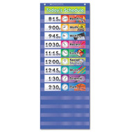 Daily Schedule Pocket Chart, 13 x 33, Blue/Clear