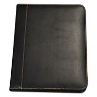 Contrast Stitch Leather Padfolio, 8 1/2 x 11, Leather, Black