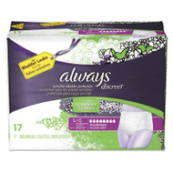 Discreet Incontinence Underwear, Large, Maximum Absorbency, 17/Pack, 3 Pk/Ctn