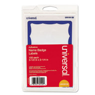 Border-Style Self-Adhesive Name Badges, 3 1/2 x 2 1/4, White/Blue, 100/Pack