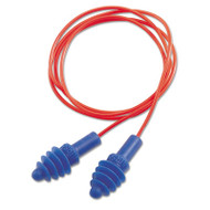 DPAS-30R AirSoft Multiple-Use Earplugs, 27NRR, Red Polycord, Blue, 100/Box