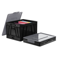 Collapsible Crate, 17 1/4 x 14 1/4 x 10 1/2, Black/Gray, 2/Pack