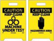 CAUTION KEEP CLEAR MACHINE UNDER TEST DOUBLE-SIDED FLOOR SIGN