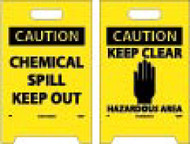 CAUTION CHEMICAL SPILL OUT DOUBLE-SIDED FLOOR SIGN