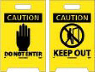 CAUTION KEEP OUT DOUBLE-SIDED FLOOR SIGN