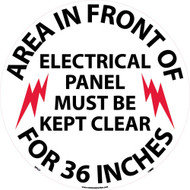 AREA IN FRONT OF ELECTRICAL PANEL WALK ON FLOOR SIGN
