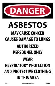 DANGER ASBESTOS HAZARD PAPER SIGN