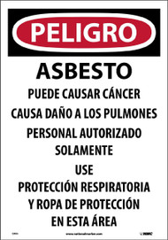 ASBESTOS DUST HAZARD SPANISH PAPER HAZARD SIGN