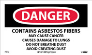 DANGER CONTAINS ASBESTOS HAZARD WARNING LABEL