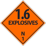 1.6 EXPLOSIVES N1 DOT PLACARD LABEL