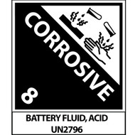 CORROSIVE BATTERY FLUID ACID LABEL