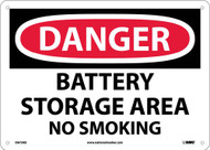 DANGER BATTERY STORAGE AREA NO SMOKING SIGN