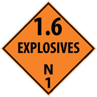 1.6 EXPLOSIVES N1 DOT PLACARD SIGN