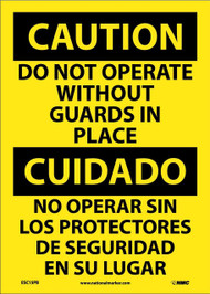 CAUTION DO NOT OPERATE WITHOUT GUARDS SIGN - BILINGUAL