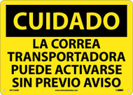 CAUTION EQUIPMENT SAFETY SIGN - SPANISH