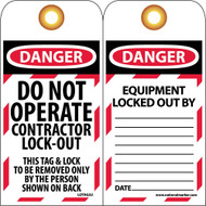 DANGER DO NOT OPERATE CONTRACTOR LOCK-OUT TAG
