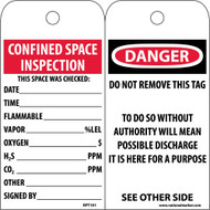 DANGER CONFINED SPACE INSPECTION TAG