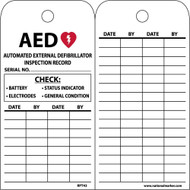 AED AUTOMATED EXTERNAL DEFIBRILLATOR INSPECTION RECORD TAG