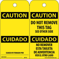 CAUTION BILINGUAL TAG