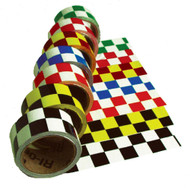 CHECKERBOARD SAFETY TAPE BLUE/WHITE