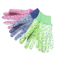 Plain floral jersey w/matching mini-PVC dots - knit wrist