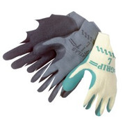 """ATLAS FIT"" 10 gauge, gray shell, green latex dip palm/fingertips - S-XL"