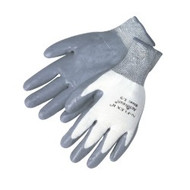 13 gauge, 100% Nylon shell, grey nitrile palm - XS-XL