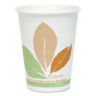 Bare by Solo Eco-Forward PLA Paper Hot Cups, 12 oz, Leaf Design, 50/Pack