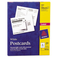 Postcards for Laser Printers, 4 1/4 x 5 1/2, Uncoated White, 4/Sheet, 200/Box
