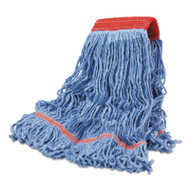 Cotton Mop Heads, Cotton/Synthetic, Large, Looped End, Wideband, Blue, 12/CT