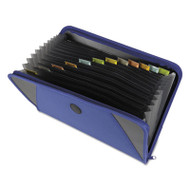 Expanding File with Zipper Closure, 13-Pocket, Tabbed Dividers, Blue