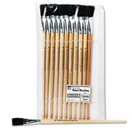 Long Handle Easel Brush, Size 18, Natural Bristle, Flat, 12/Pack