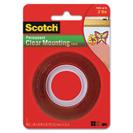 "Double-Sided Mounting Tape, Industrial Strength, 1"" x 60"", Clear/Red Liner"