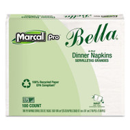 100% Premium Recycled Bella Dinner Napkins, 15 x 17, White, 3000/Carton