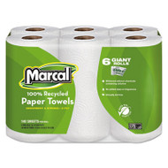 100% Recycled Roll Towels, 5 1/2 x 11, 140/Roll, 6 Rolls/Pack
